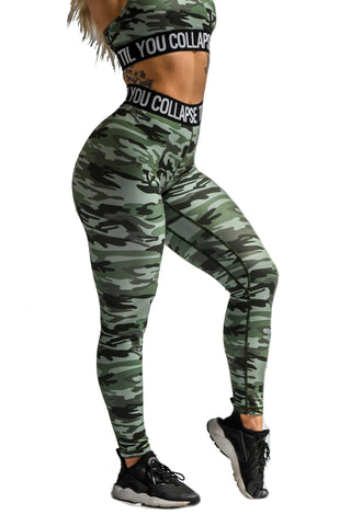 Effortless Scrunch Leggings - Black Camo