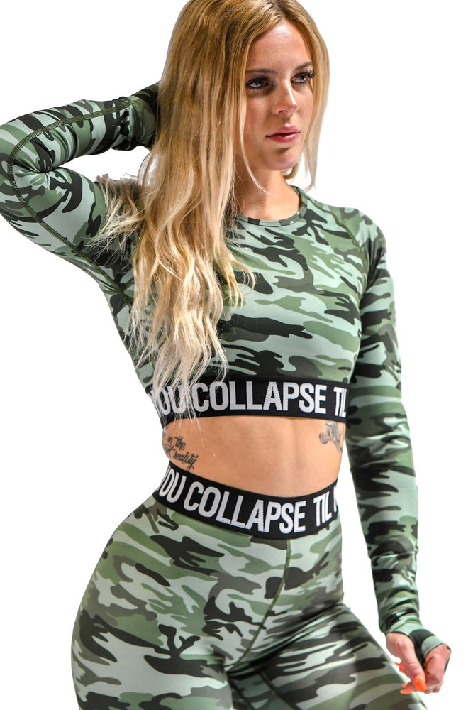 Green Camo Branded Long Sleeve Top