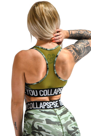 Load image into Gallery viewer, Branded Sports Bra- Green Camo