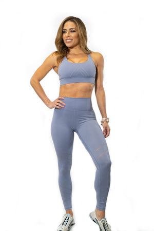 Matching periwinkle sports bra and leggings