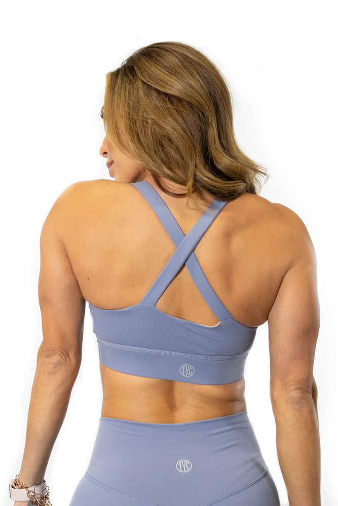 x shaped cross back periwinkle sports bra