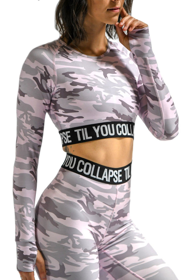 Women's light pink long camo sleeve crop top