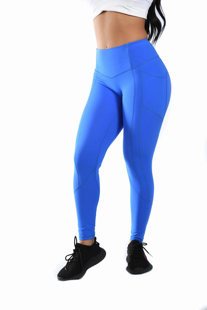 Effortless Heart Booty Leggings- Electric Blue