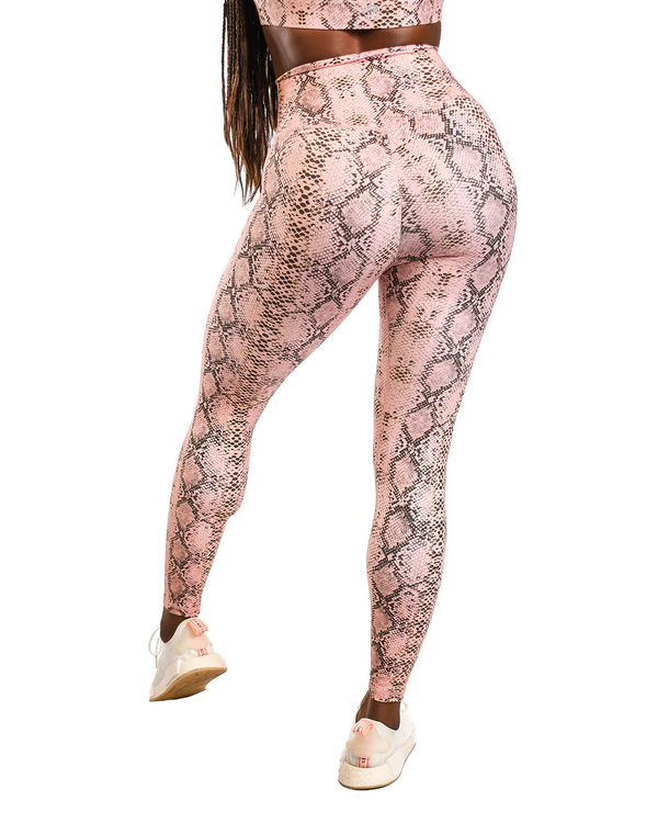Effortless Scrunch Leggings- Pink & Gold Boa