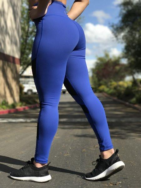 Premium Blue Mesh Leggings