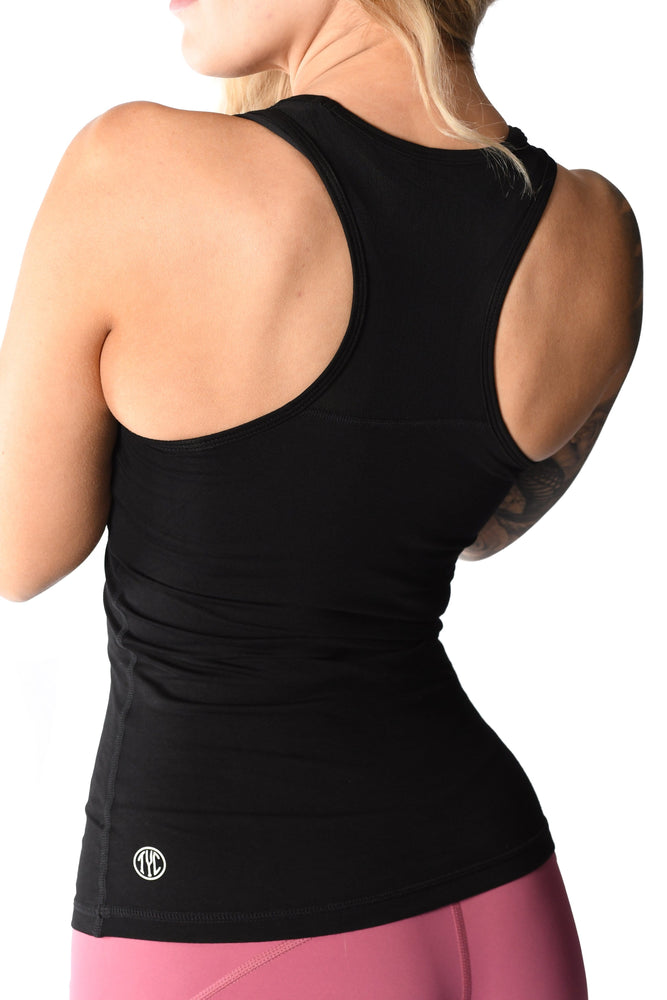 Back view of grey women's mesh tank top