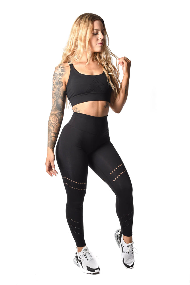 Matching black sports bra and leggings
