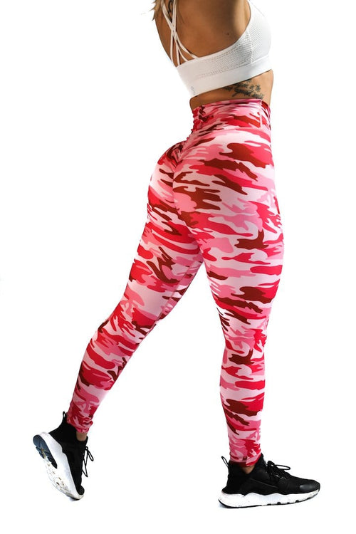 Effortless Scrunch Leggings - Hot Pink Camo