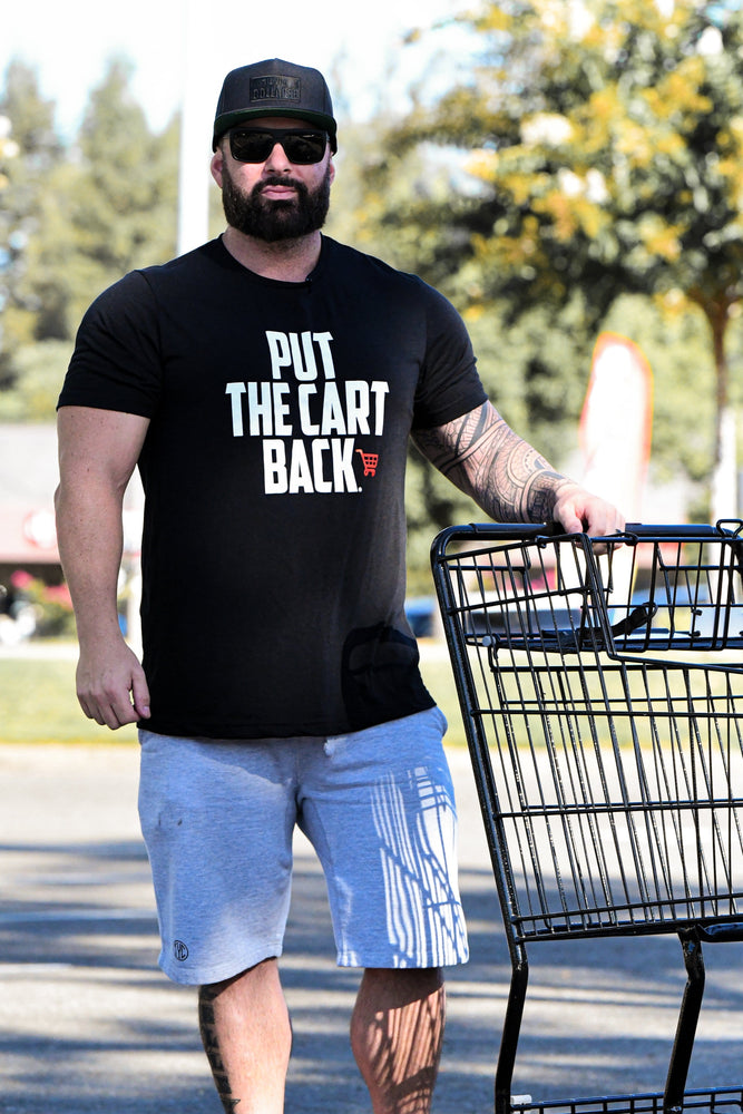 "Back of black ""Put the cart back"" T-shirt"