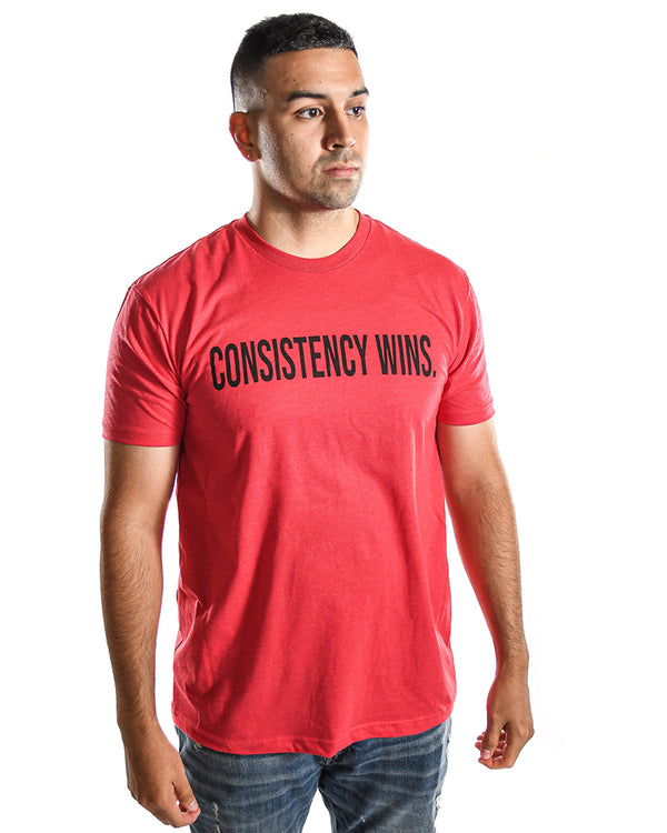 """Consistency wins."" T-shirt- Red"