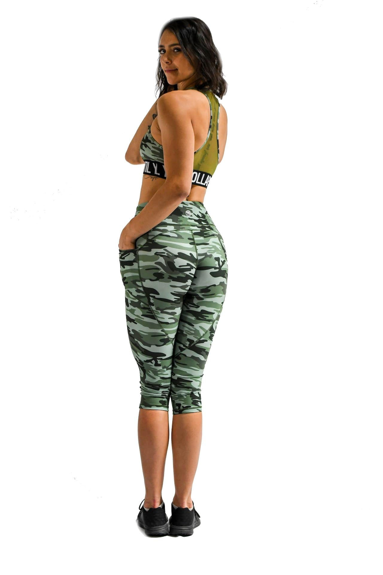 Effortless Heart Booty Capris- Green Camo