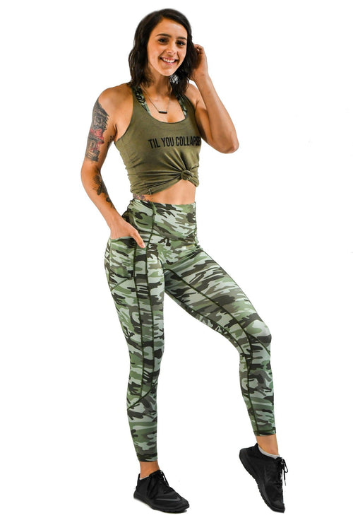 Effortless Heart Booty Leggings- Green Camo