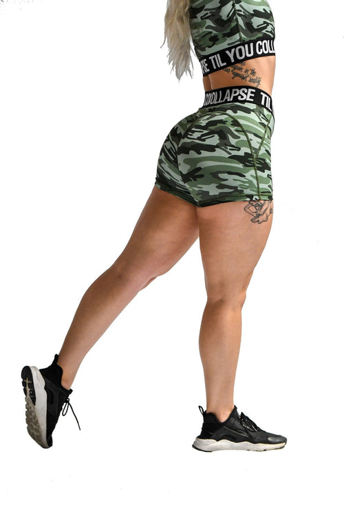 Effortless Branded Shorts- Green Camo