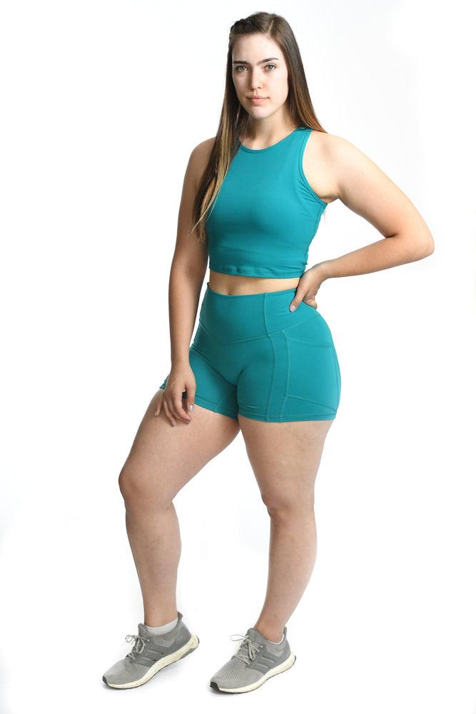 Resilient Heart Booty Shorts- Teal