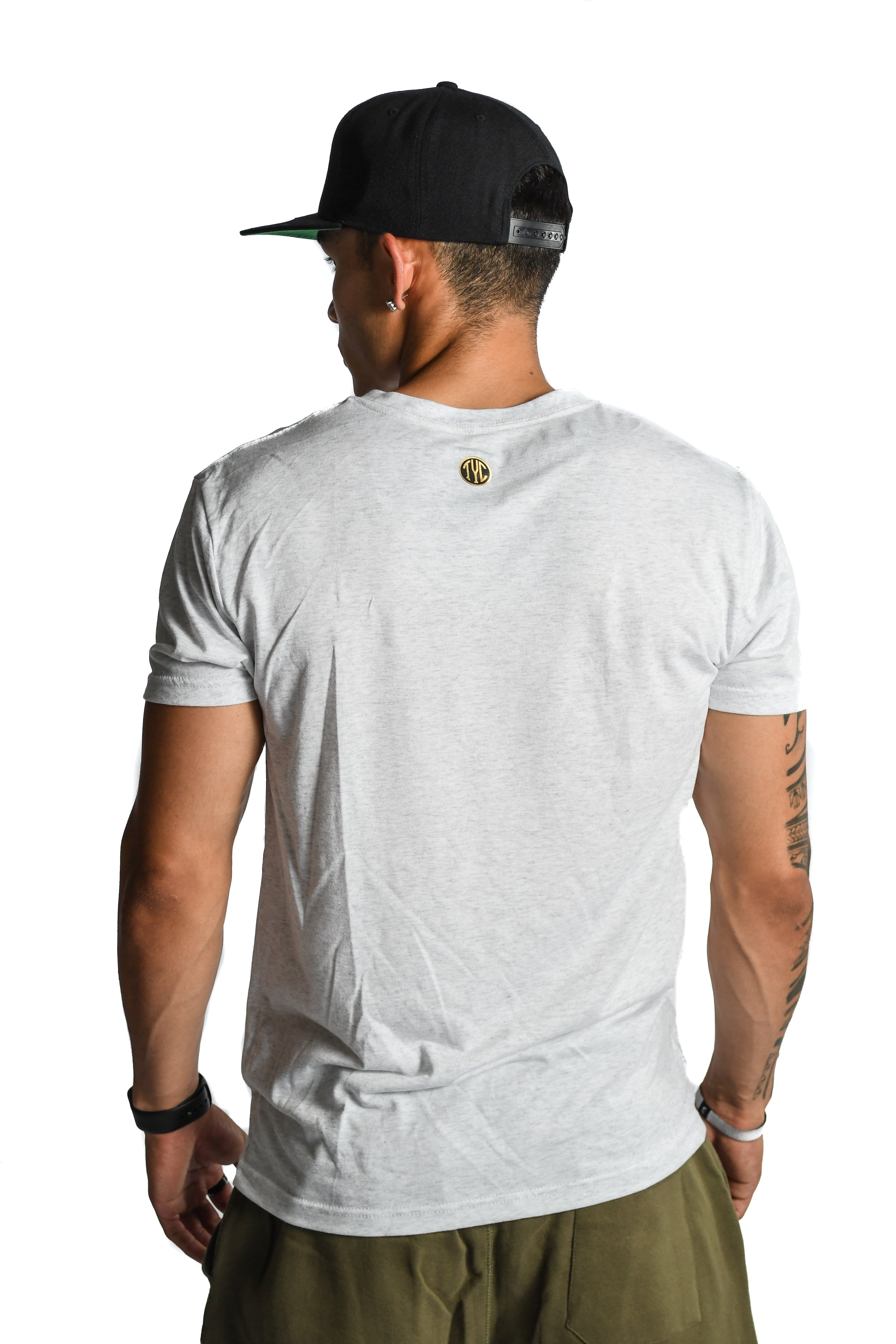 Gold Foil V Neck T-shirt- Heather Grey