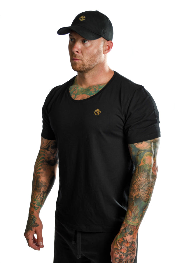 Gold Foil Scoop Neck T-shirt- Black