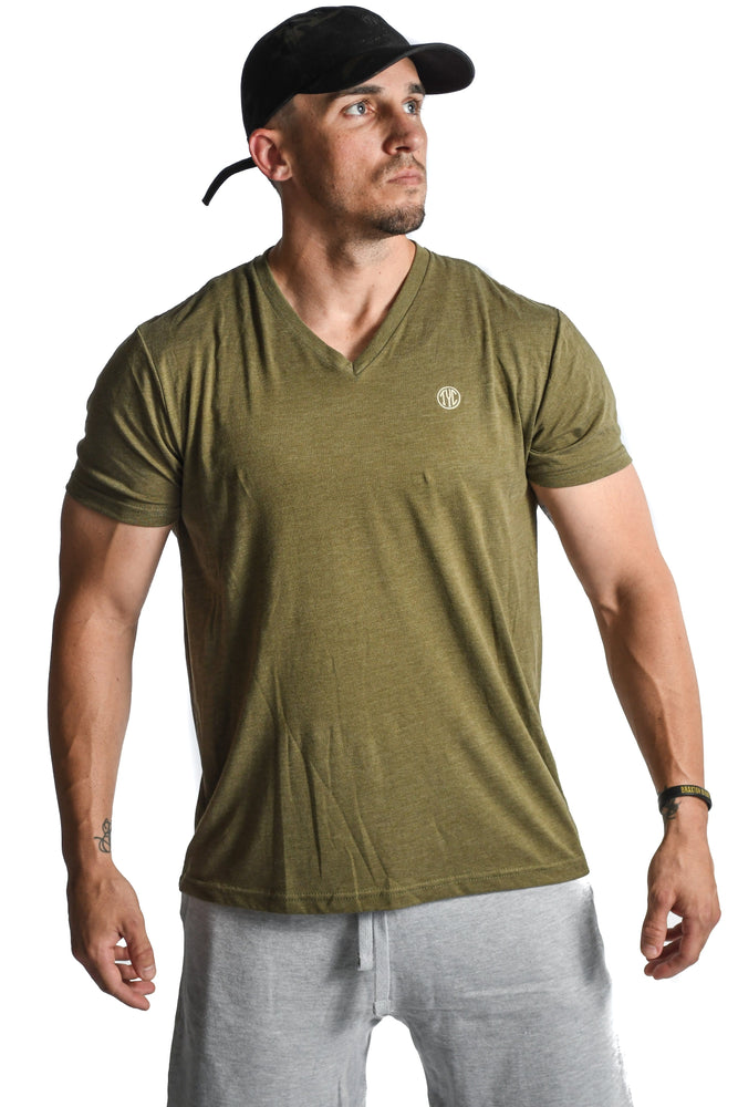 V Neck T-shirt- Army Green