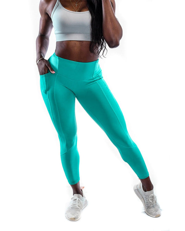 Intensity Heart Booty Leggings- Aquamarine