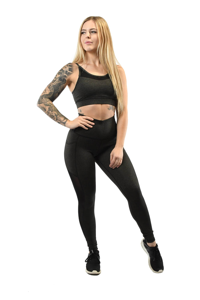 Load image into Gallery viewer, Black leggings and sports bra