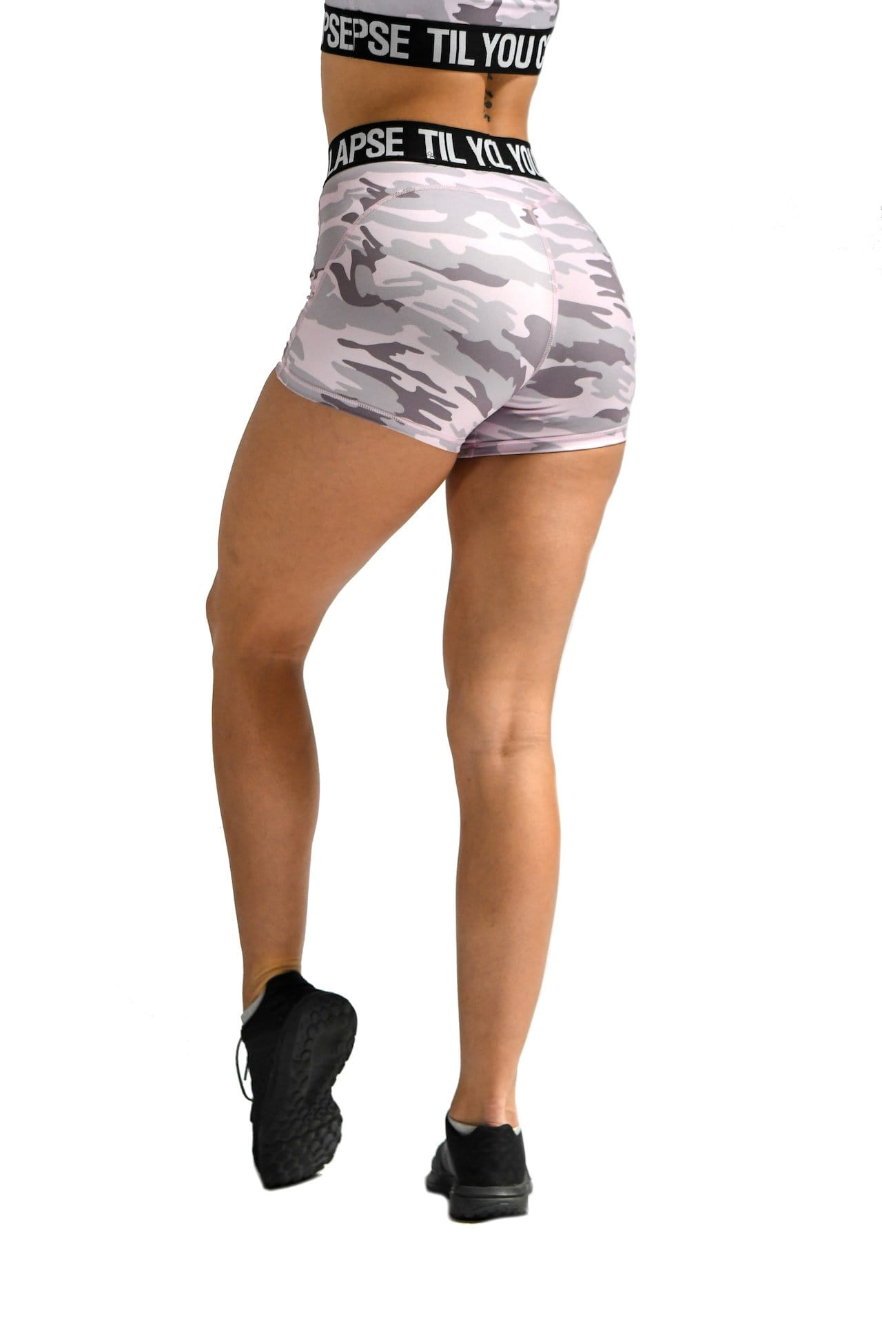 Effortless Branded Shorts- Light Pink Camo
