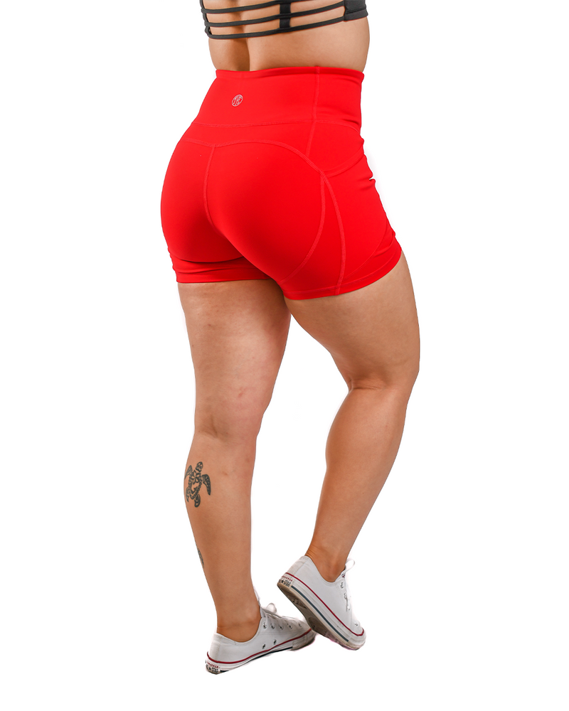 Resilient Heart Booty Shorts- Red