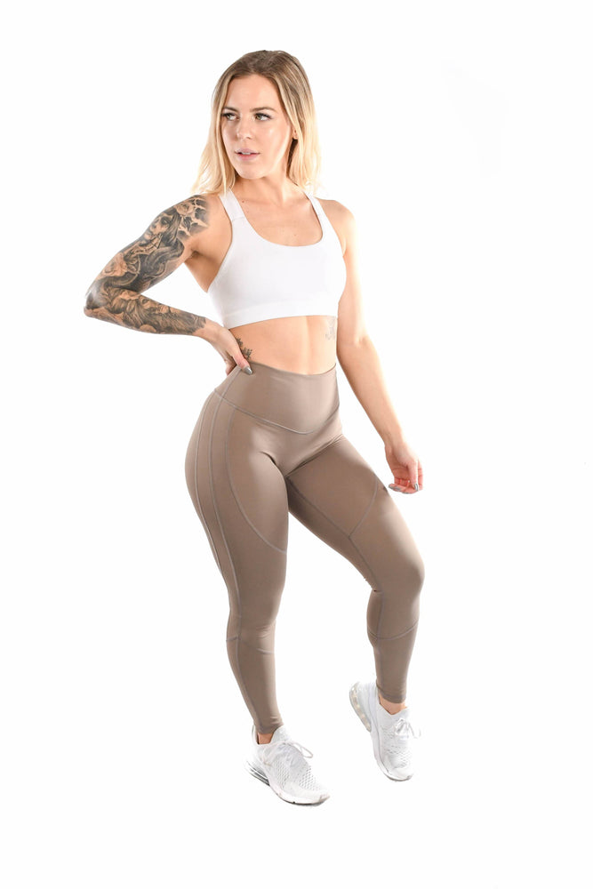 Intensity Divide Leggings- Taupe