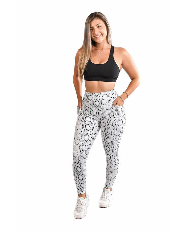 Effortless Heart Booty Leggings- White Cobra