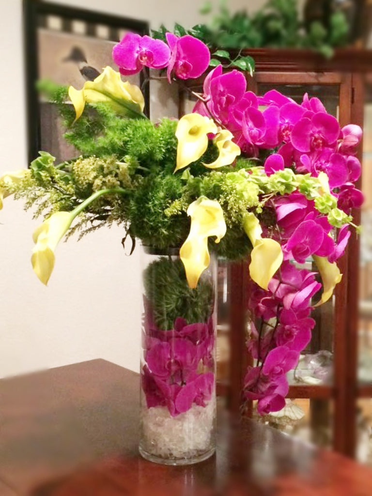 Calla and Orchid Tall Centerpiece - VineLily Moments