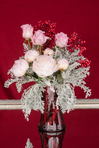 Beloved Peonies Embraced by Silver Dusty Miller
