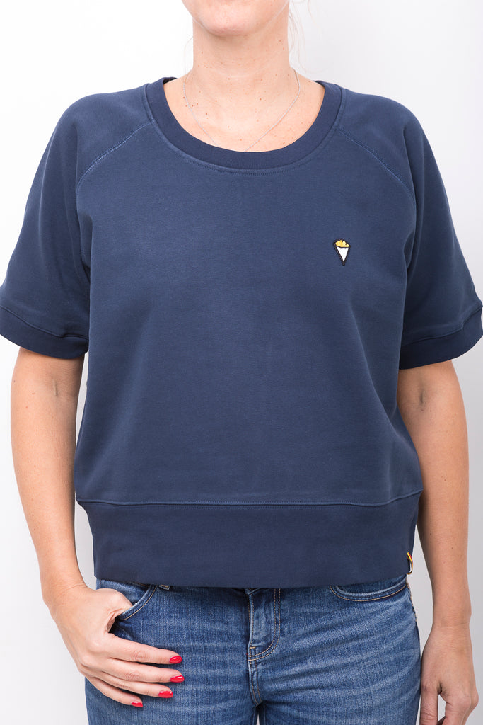 "Sweat-shirt ""Frites"" short sleeves navy"