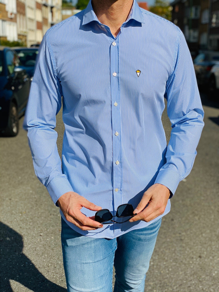 Sky blue and white linen FRITES shirt