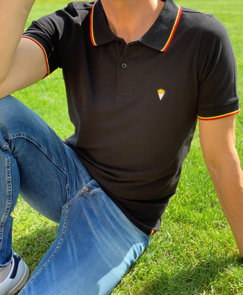 Polo short sleeves black Belgica