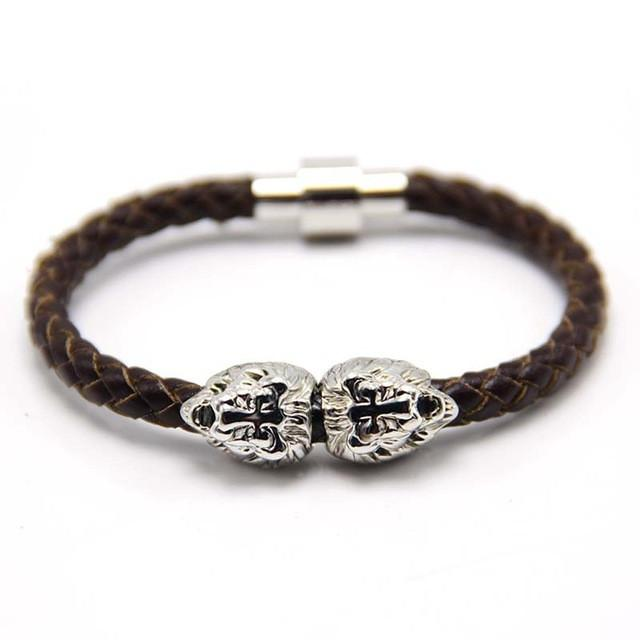 "Bracelet - ""Steel Lion"" Leather Bracelet"
