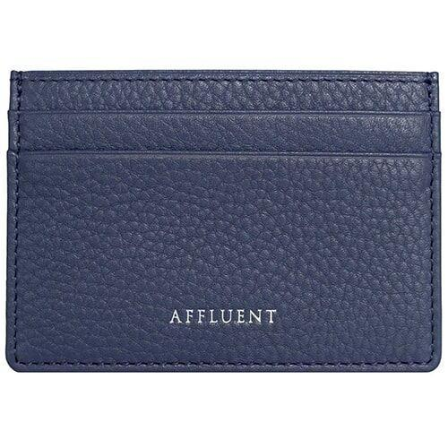 Card Holder - AFFLUENT Navy Grained Leather Card Holder