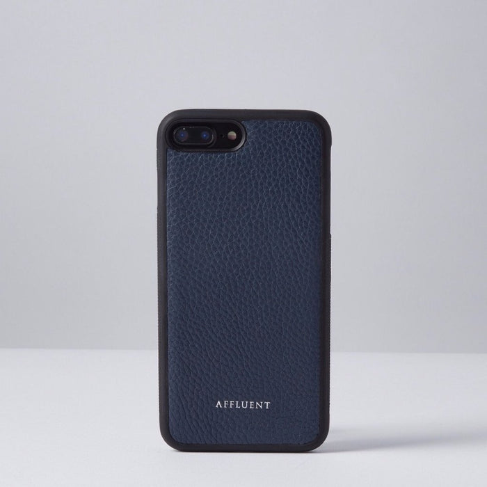Navy Grained Leather IPhone Case