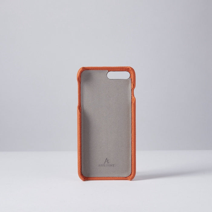 Orange Grained Full Leather IPhone Case With Card Slot