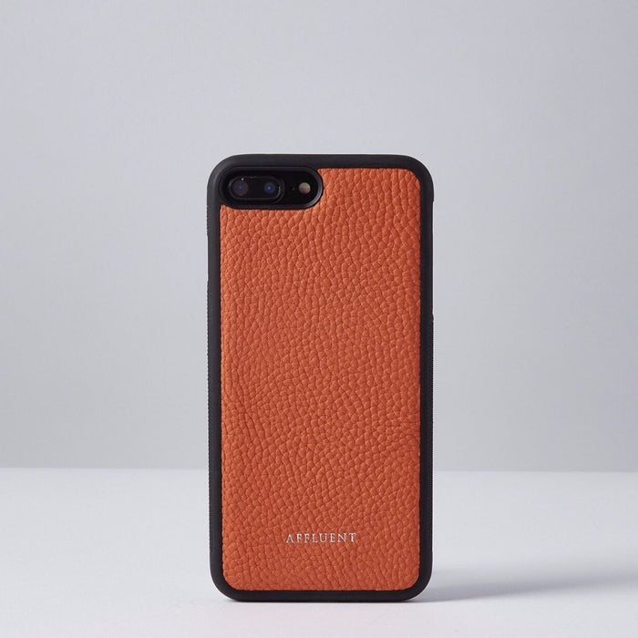 Orange Grained Leather IPhone Case