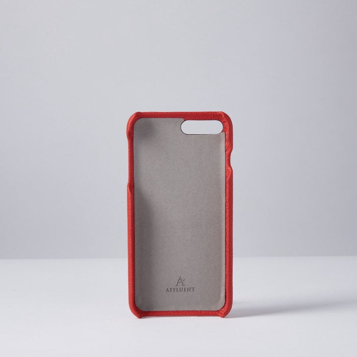 Red Grained Full Leather IPhone Case With Card Slot
