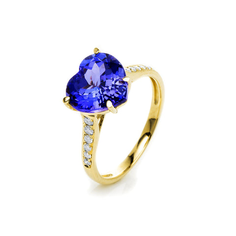 Tanzanite Heart Diamond Ring