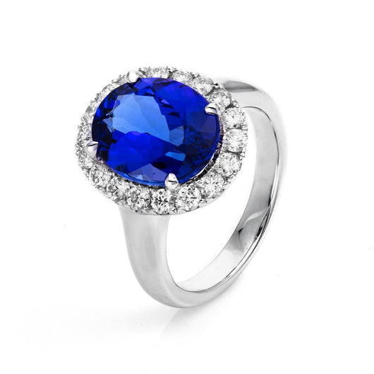 Tanzanite Halo Diamond Ring