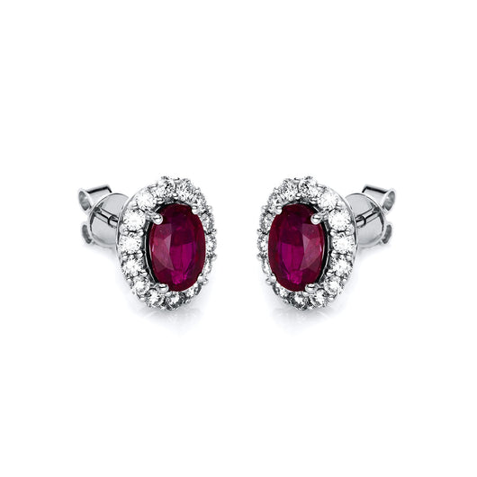 Ruby Diamond Stud Earrings