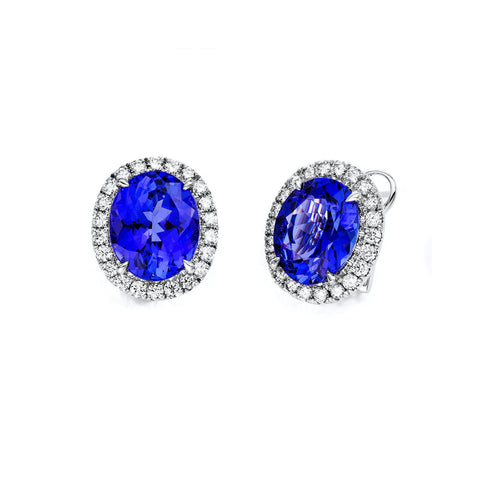 Tanzanite Diamond Stud Earrings