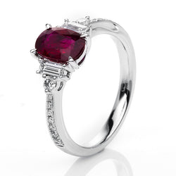 Ruby Side Stone Ring