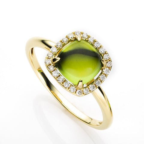 Peridot Halo Diamond Ring