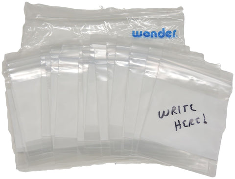 "100 2x3"" White Block 2 Mil Writable PE Ziploc Poly Plastic Bags Zip Close Reseal"