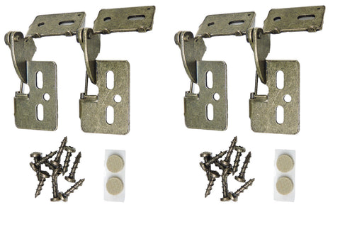 "4 Self Closing Concealed Cabinet Hinge 1/2"" Overlay Antique Brass Youngdale #6"