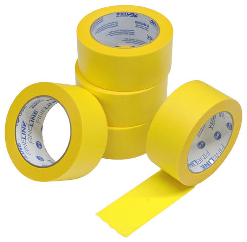 "5x IPG 2"" Yellow Clean Release Fine Line Razor Precision Painters Masking Tape"