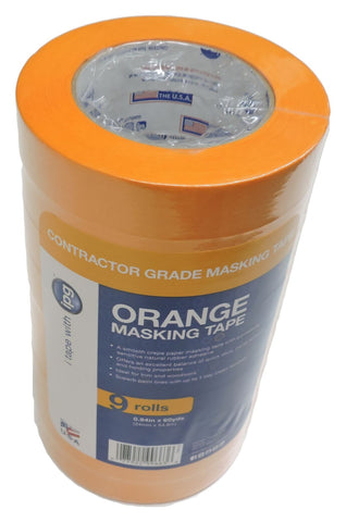 "9x IPG 1"" Pro Grade Contractor Pack Orange Painters Masking Tape Rubber Adhesive"