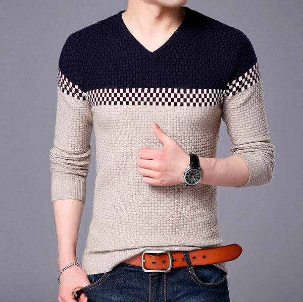 Business Leisure Pullover V-neck Slim Knitted for Man 3 colors