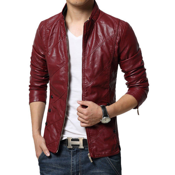 Leather Jacket Men Black Red Brown Fashiostor